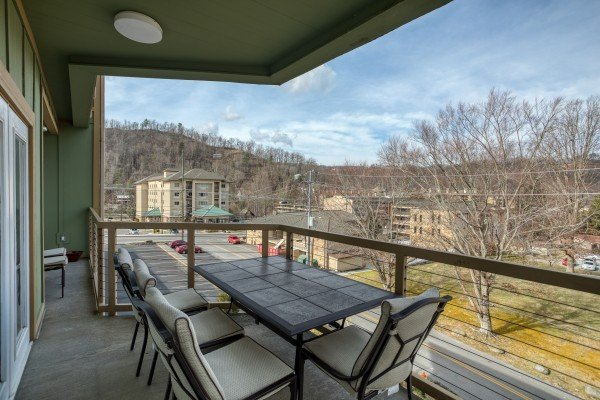 Outdoor dining table for four at Heart of Gatlinburg, a 2 bedroom cabin rental located in Gatlinburg