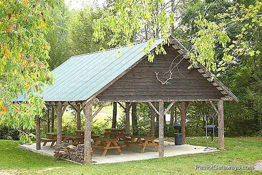 Picnic shelter at Cedar Falls Resort for guests of Great View Lodge, a 5-bedroom cabin rental located in Pigeon Forge