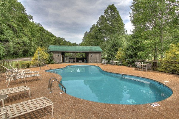 Cedar Falls Resort pool access at Great View Lodge, a 5-bedroom cabin rental located in Pigeon Forge