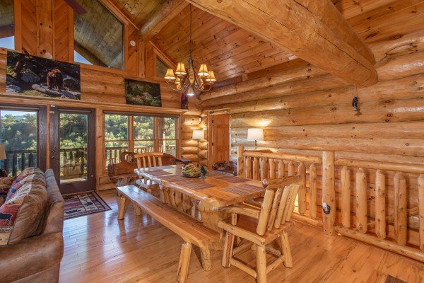 Dining table with space for 10 at Great View Lodge, a 5-bedroom cabin rental located in Pigeon Forge
