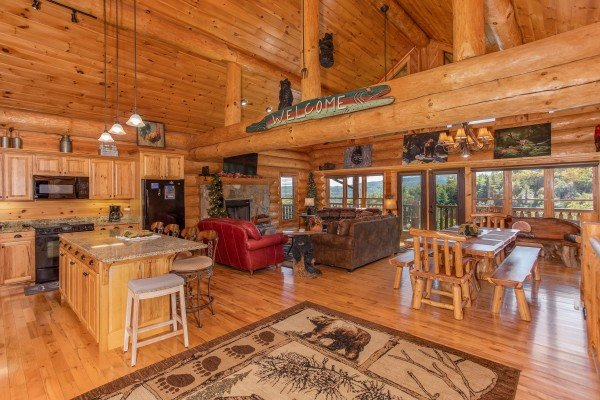 Looking into the open concept first floor at Great View Lodge, a 5-bedroom cabin rental located in Pigeon Forge