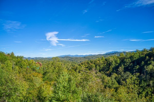 Treetop views from Great View Lodge, a 5-bedroom cabin rental located in Pigeon Forge
