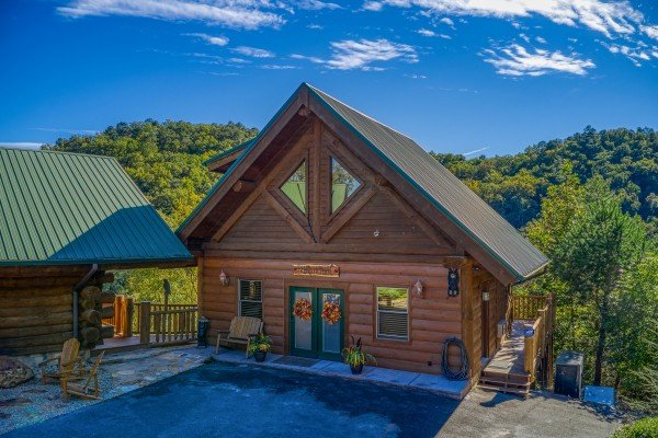 Separate game room from the driveway at Great View Lodge, a 5-bedroom cabin rental located in Pigeon Forge