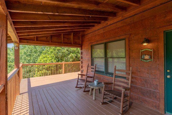 Front porch at Eagle's Loft, a 2 bedroom cabin rental located in Pigeon Forge