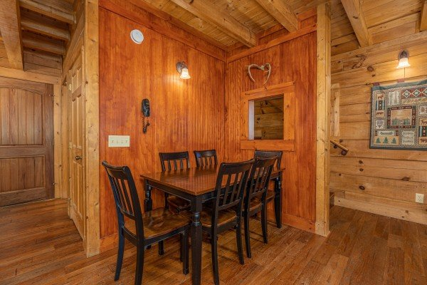 Dining table for six at A Beary Nice Cabin, a 2 bedroom cabin rental located in Pigeon Forge