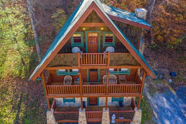 Drone view of A Beary Nice Cabin, a 2 bedroom cabin rental located in Pigeon Forge