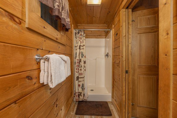 Shower stall at A Beary Nice Cabin, a 2 bedroom cabin rental located in Pigeon Forge