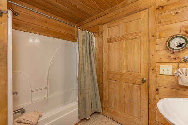 Tub and shower in a bathroom at A Beary Nice Cabin, a 2 bedroom cabin rental located in Pigeon Forge