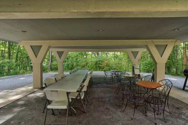 Carport entertaining area at Terrace Garden Manor, a 13 bedroom cabin rental located in Gatlinburg