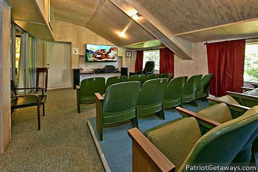 Home theater at Terrace Garden Manor, a 13 bedroom cabin rental located in Gatlinburg