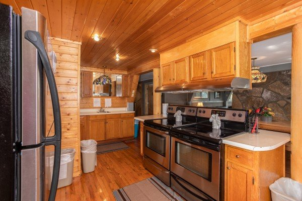 Two stoves in the kitchen at Terrace Garden Manor, a 13 bedroom cabin rental located in Gatlinburg