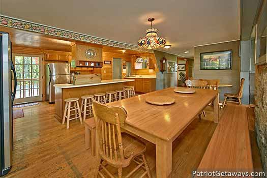 Plenty of dining room seating at Terrace Garden Manor, a 13 bedroom cabin rental located in Gatlinburg