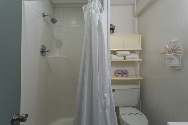 Bathroom with a shower at Terrace Garden Manor, a 13 bedroom cabin rental located in Gatlinburg