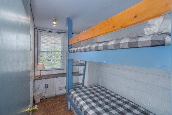Twin bunk bed room at Terrace Garden Manor, a 13 bedroom cabin rental located in Gatlinburg