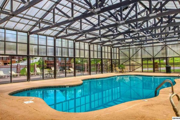 Indoor resort pool at Hello Dolly, a 1 bedroom cabin rental located in Pigeon Forge