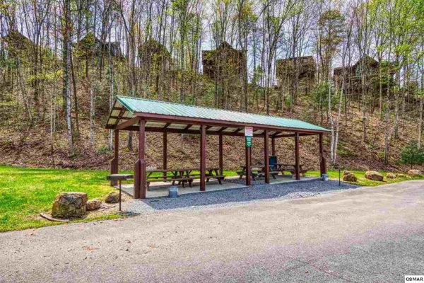 Picnic pavilion at Hidden Springs Resort at Hello Dolly, a 1 bedroom cabin rental located in Pigeon Forge