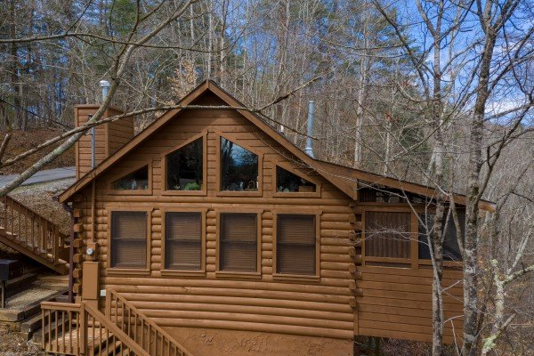 Drone exterior view at Fowl Play, a 1 bedroom cabin rental located in Pigeon Forge