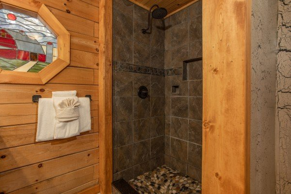 Hydrotherapy shower at Fowl Play, a 1 bedroom cabin rental located in Pigeon Forge