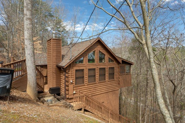 Exterior side view at Fowl Play, a 1 bedroom cabin rental located in Pigeon Forge