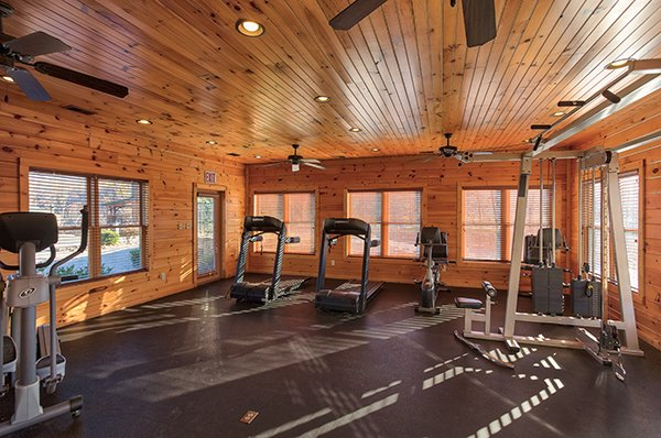 Exercise room at Gatlinburg Falls Resort is accessible for guests of Heaven's Dew, a 1-bedroom cabin rental located in Gatlinburg