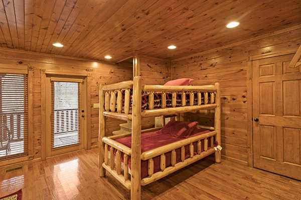 Bedroom with twin bunk bed at Heaven's Dew, a 1-bedroom cabin rental located in Gatlinburg