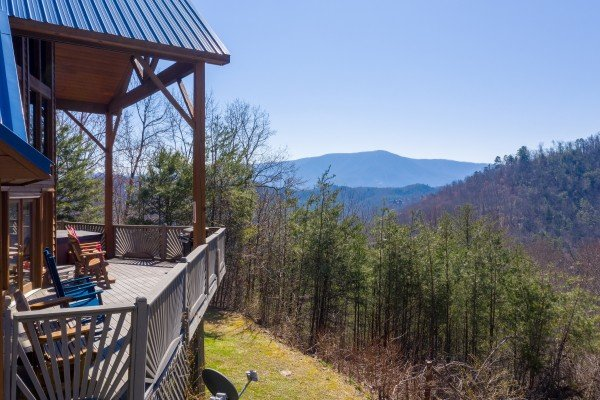 Mountain view and deck at About Time, a 2 bedroom cabin rental located in Pigeon Forge