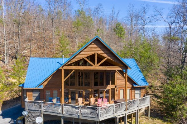 Drone exterior view at About Time, a 2 bedroom cabin rental located in Pigeon Forge