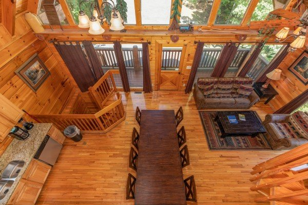 Looking down on the main floor at The Great Outdoors, a 3 bedroom cabin rental located in Pigeon Forge