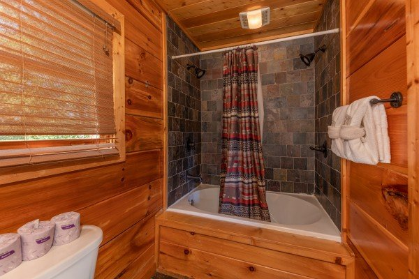 Bathroom with jacuzzi at The Great Outdoors, a 3 bedroom cabin rental located in Pigeon Forge