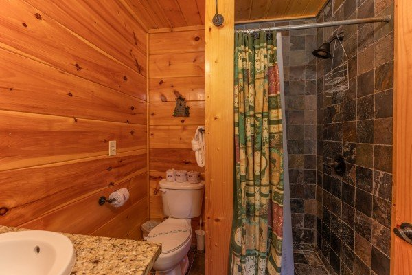 Bathroom with a shower at The Great Outdoors, a 3 bedroom cabin rental located in Pigeon Forge