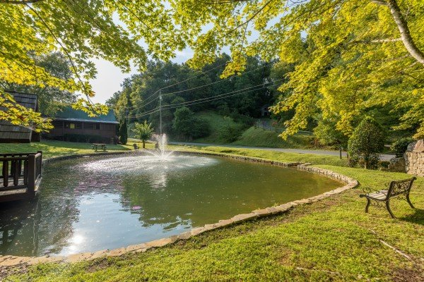 Pond for guests at Family Getaway, a 4 bedroom cabin rental located in Pigeon Forge