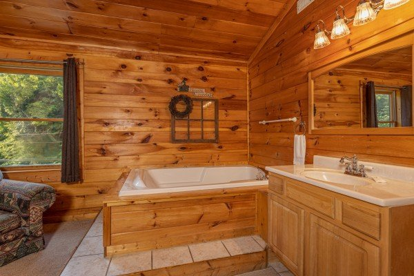 Jacuzzi in a bedroom at Family Getaway, a 4 bedroom cabin rental located in Pigeon Forge