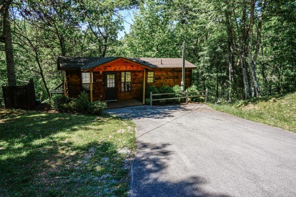 Driveway and parking area at Seclusion, a 1 bedroom cabin rental located in Gatlinburg