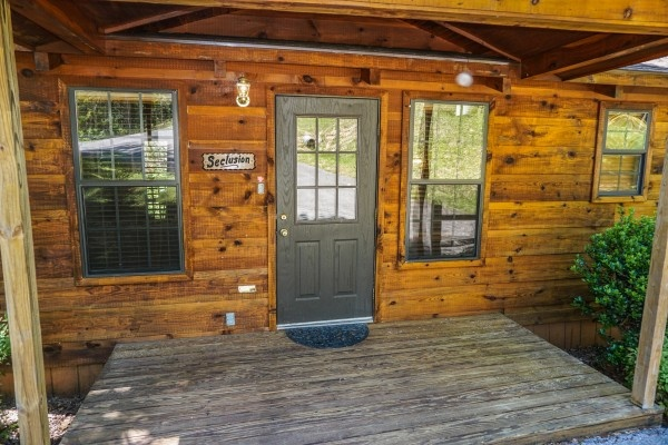 Front door at Seclusion, a 1 bedroom cabin rental located in Gatlinburg