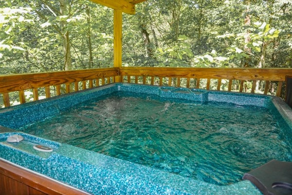 Hot tub at Seclusion, a 1 bedroom cabin rental located in Gatlinburg