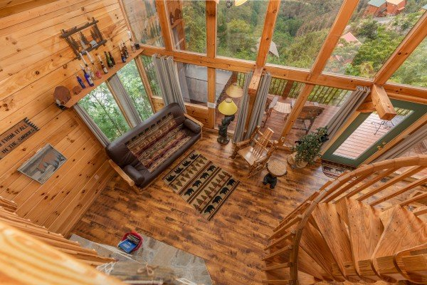 Living room from above at Away From it All, a 1 bedroom cabin rental located in Pigeon Forge