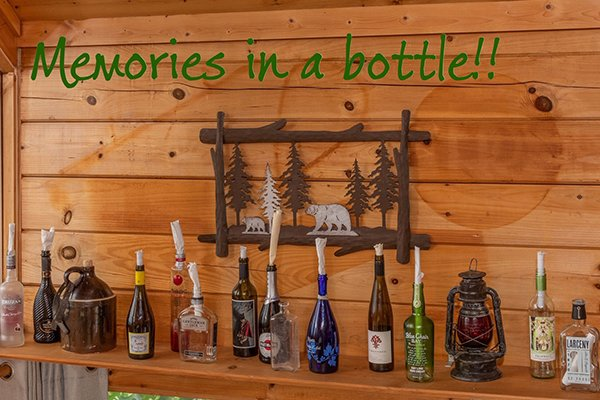 Bottle collection at Away From it All, a 1 bedroom cabin rental located in Pigeon Forge