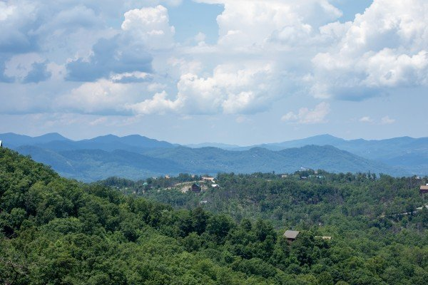 Mountain view from the deck at Away From it All, a 1 bedroom cabin rental located in Pigeon Forge