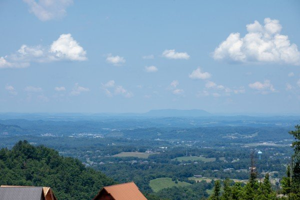Rooftop and mountain views at Away From it All, a 1 bedroom cabin rental located in Pigeon Forge