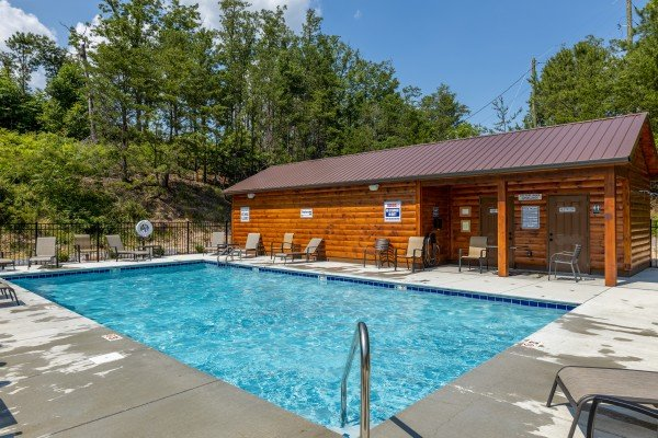 Resort pool for guests at Away From it All, a 1 bedroom cabin rental located in Pigeon Forge