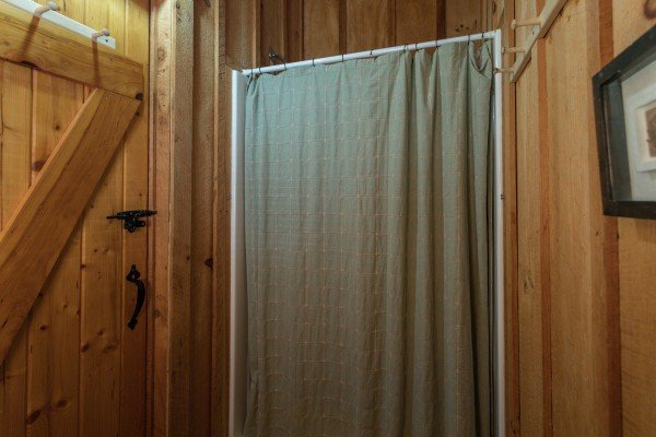 Bathroom with a shower at Blue Mountain Views, a 1 bedroom cabin rental located in  Pigeon Forge
