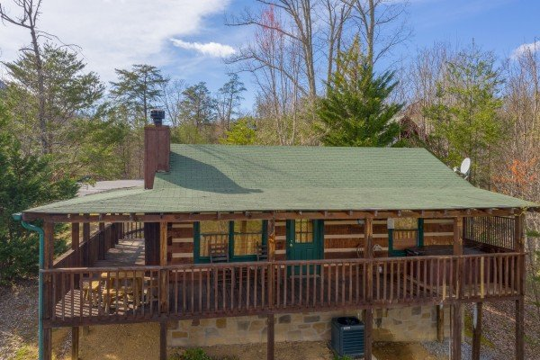 Drone exterior view at Blue Mountain Views, a 1 bedroom cabin rental located in  Pigeon Forge
