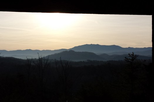 Beautiful sunset views from the deck at Blue Mountain Views, a 1-bedroom cabin rental located in Pigeon Forge