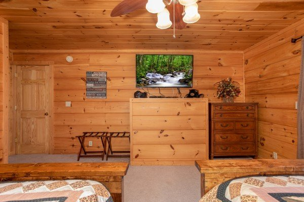 Wall-mounted television and storage at Awesome Views, a 4-bedroom cabin rental located in Pigeon Forge