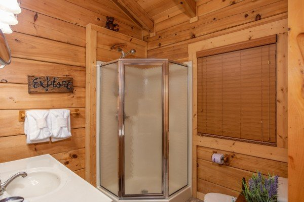 Bathroom with corner shower stall at Awesome Views, a 4-bedroom cabin rental located in Pigeon Forge