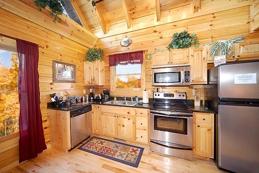 stainless appliances in the kitchen at bullwinkle's place a 1 bedroom cabin rental located in gatlinburg