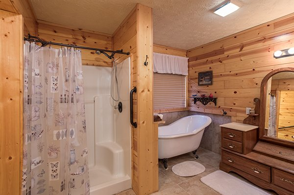 Bathroom with a shower and soaker tub at Rustic Ranch, a 2 bedroom cabin rental located in Pigeon Forge