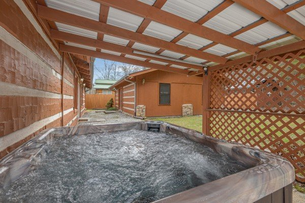 Hot tub at Rustic Ranch, a 2 bedroom cabin rental located in Pigeon Forge