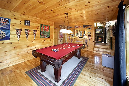 Pool table in the game room at Nascar Nation, a 2 bedroom cabin rental located in Pigeon Forge