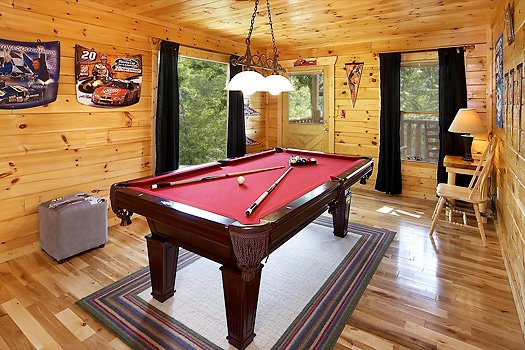 Pool table at Nascar Nation, a 2 bedroom cabin rental located in Pigeon Forge